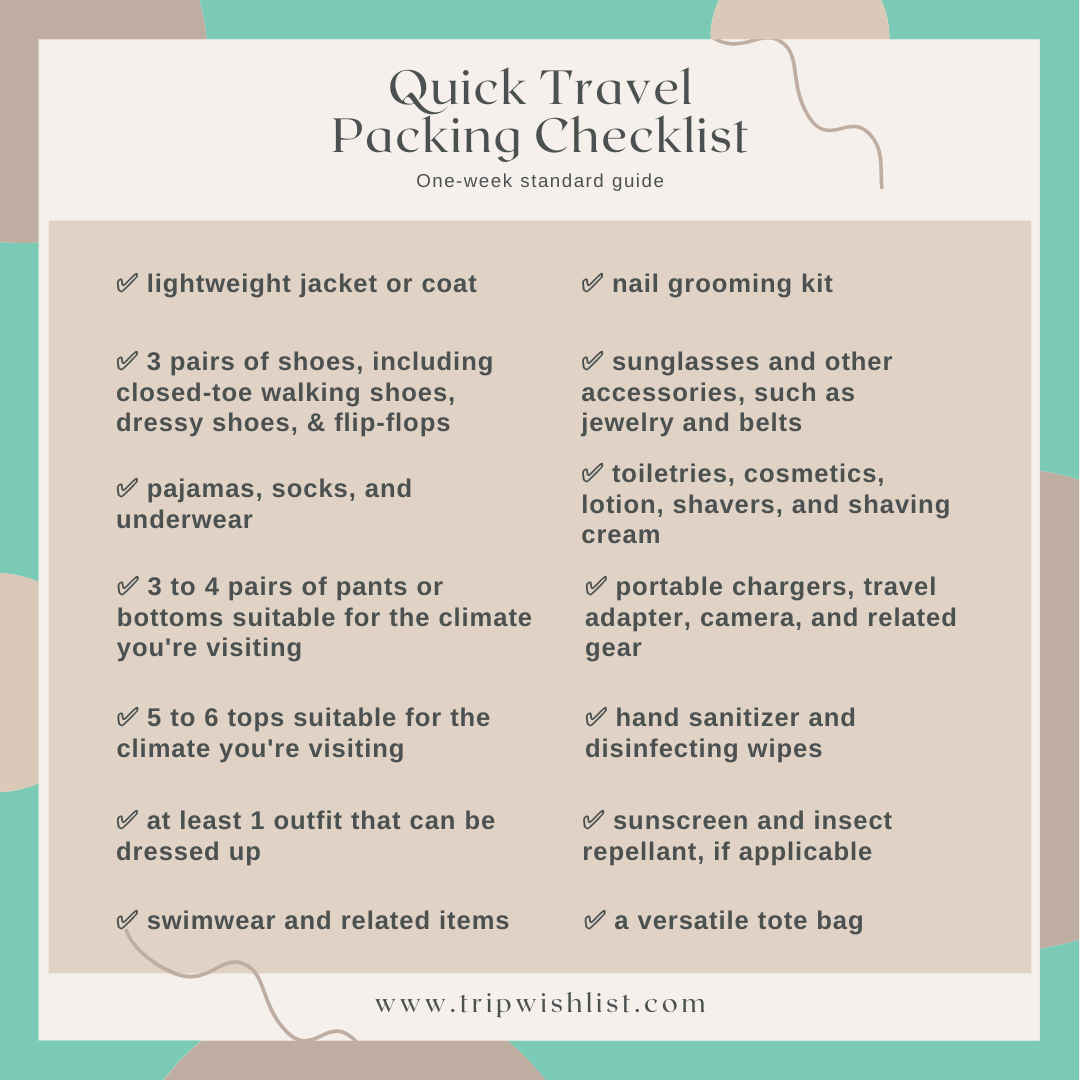 Travel accessories packing list